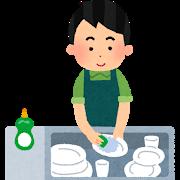 洗い物をする父親